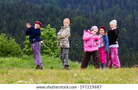 Group of children in nature - stock photo