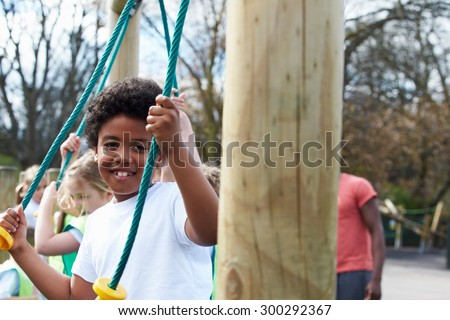 Group Of Children In School Physical Education Class - stock photo