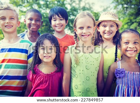 Group of Children Smiling Concept - stock photo