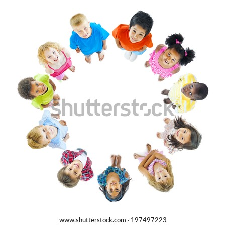 Group of Children Standing Around - stock photo