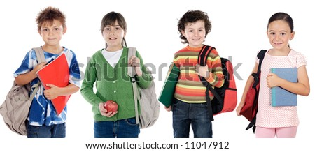 Group of children students a over white background - stock photo