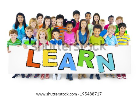 Group of Children with Learn Concept - stock photo