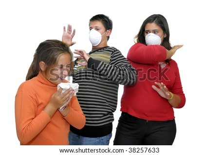 Group of children with masks against the flu and one already sick - stock photo