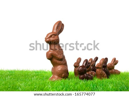 Group of chocolate bunnies on the way over a fresh meadow.  - stock photo