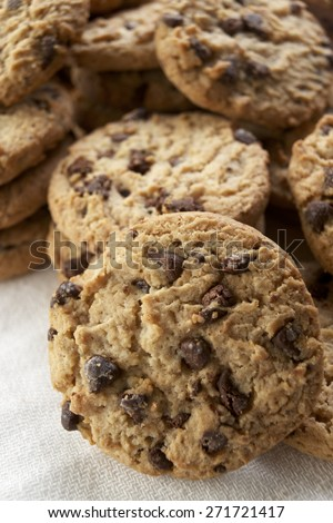 Group of chocolate chips cookies. - stock photo