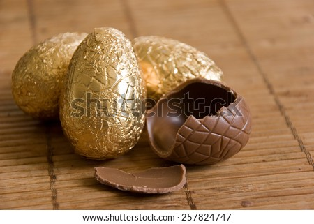 group of chocolate  easter eggs closeup - stock photo