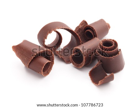 group of chocolate shavings isolated on white - stock photo