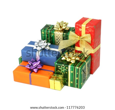Group of christmas presents isolated on white background - stock photo