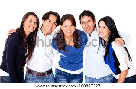 Group of close friends together - isolated over a white background - stock photo