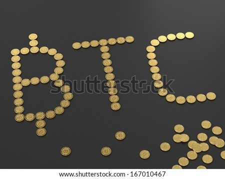 Group of coins arranged in form of Bitcoin sign, digital currency  - stock photo