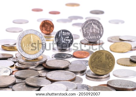 Group of coins, Thai baht  isolated on white background - stock photo