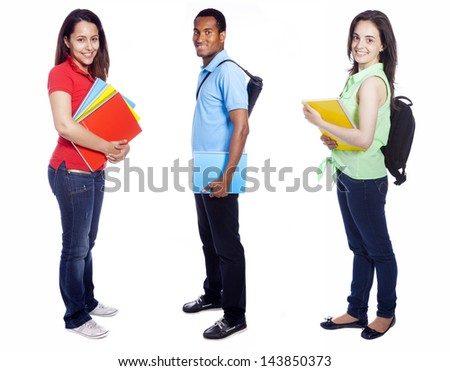 Group of college students on white background - stock photo