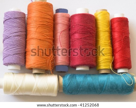 group of color bobbins - stock photo
