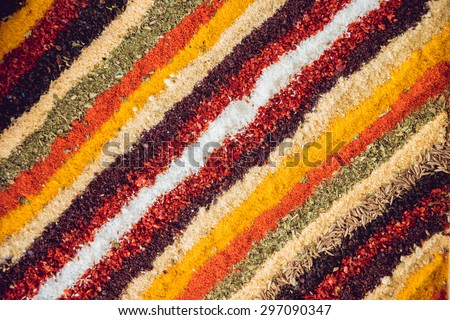 Group of colored spice. Background - stock photo