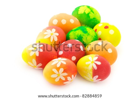 Group of colorful Easter eggs isolated on white background. - stock photo