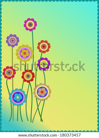 group of colorful flowers background - stock photo