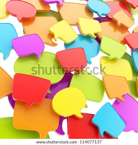 Group of colorful glossy plastic speech text bubbles randomly placed as abstract copyspace business communication background - stock photo