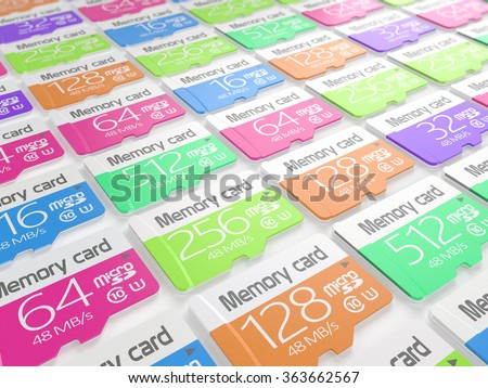 Group of colorful memory micro sd cards on white background. Storage and mobility transfer concept - stock photo