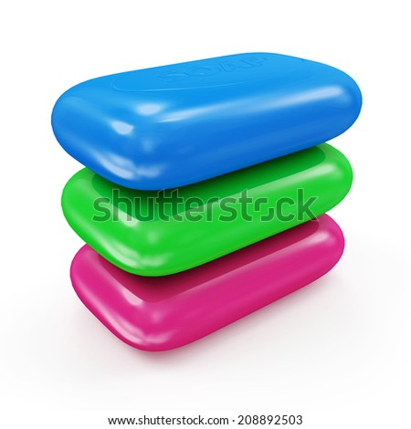 Group of Colorful Soap isolated on white background - stock photo