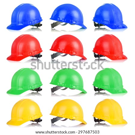Group of colorfull Safety helmet with shadows isolated on white background - stock photo