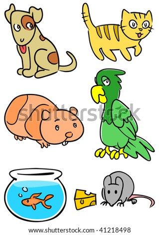 Group of common pets including dog, cat, hamster, parrot, fish and mouse. - stock photo