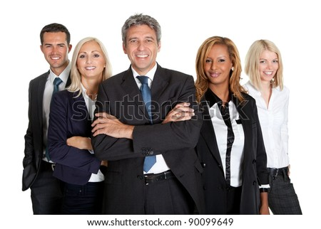Group of confident multi racial business people standing against white background - stock photo