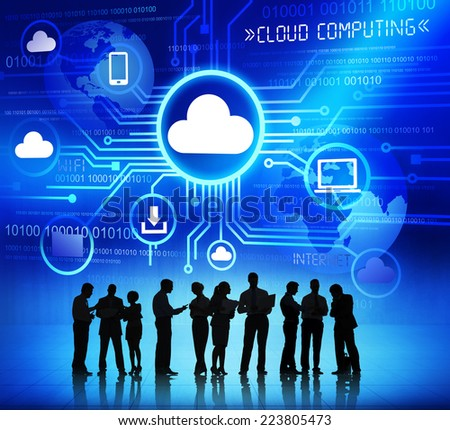 Group of Corporate People Discussing About Cloud Computing - stock photo