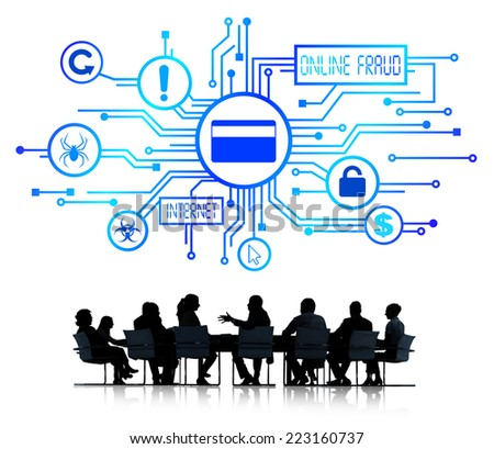 Group of Corporate People having a Meeting about Online Fraud - stock photo