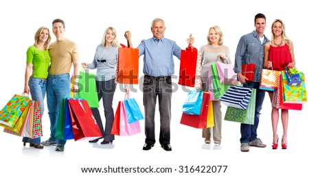 Group of customers with shopping bags isolated white background. - stock photo