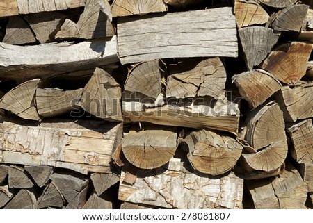 Group of cut logs for firewood. - stock photo