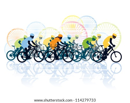 Group of cyclist in the bicycle race. Sport illustration - stock photo