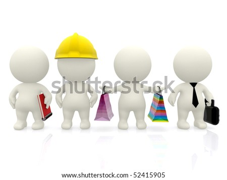 Group of 3D people with different professions isolated over white - stock photo