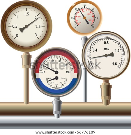 Group of devices of a various kind for pressure measurement - stock photo