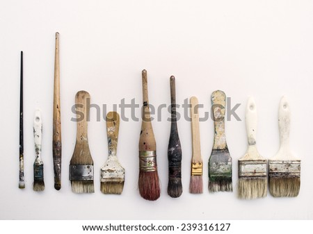 Group of different artist brushes - stock photo