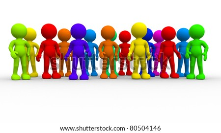Group of different people. This is a 3d render illustration - stock photo