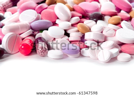 group of different pills on white background - stock photo