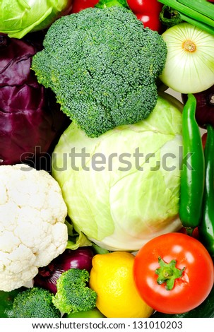 Group of different raw vegetables - stock photo