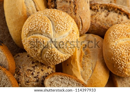 Group of different types of bread - stock photo
