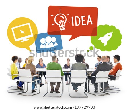 Group of Diverse Business People Brainstorming - stock photo