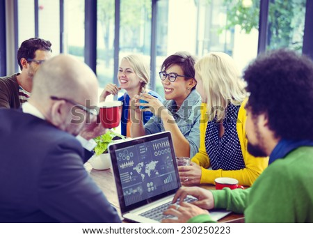 Group of Diverse Cheerful Business People - stock photo