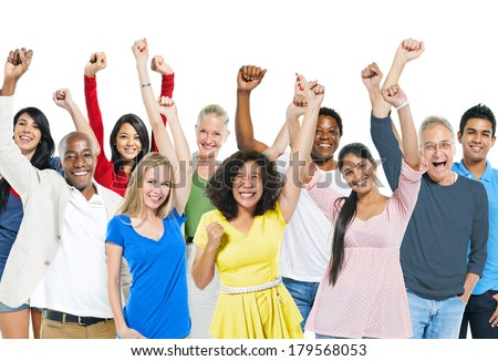 Group of Diverse Colorful World People Celebrating - stock photo