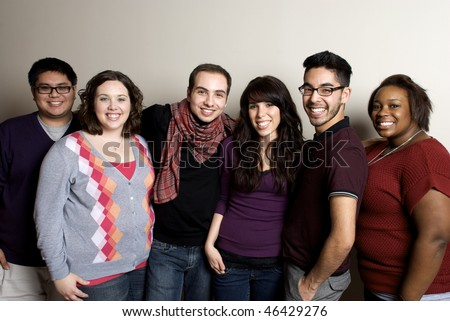 Group of Diverse Friends Smiling - stock photo