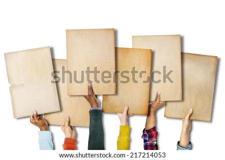 Group of Diverse Hands Holding Old Papers - stock photo
