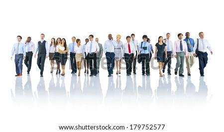 Group of Diverse International Business People Walking - stock photo