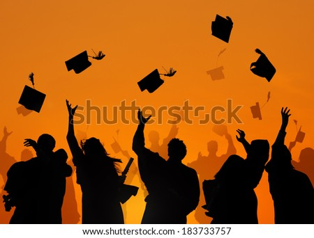 Group Of Diverse International Students Celebrating Graduation - stock photo