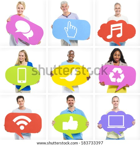 Group of Diverse Multi-Ethnic People Holding Speech Bubbles With Social Media Icons - stock photo
