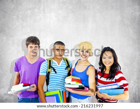 Group of Diverse Multiethnic Cheerful Students - stock photo