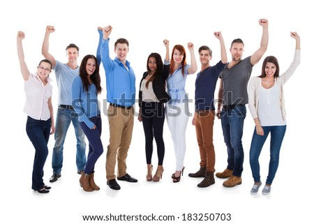 Group of diverse people raising arms. Isolated on white - stock photo