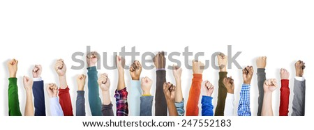 Group of Diverse People's Clenched Fists - stock photo