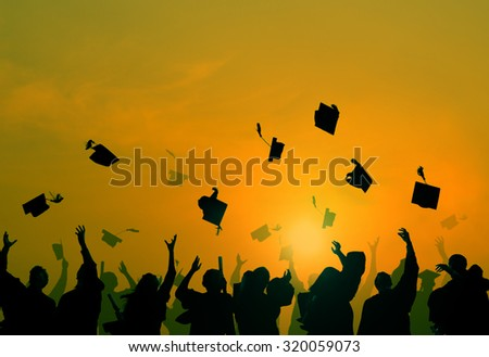 Group Of Diverse Students Celebrating Graduation - stock photo